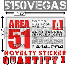 AREA 51 CONTROLLED VEHICLE PERMIT Decal Car STICKER Access Area 51 Parking Pass