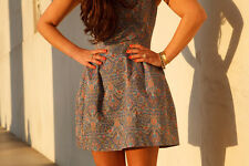 NEW ZARA PAISLEY PRINT STRUCTURED TULIP SKATER PROM MINI DRESS M MEDIUM 10 6 38