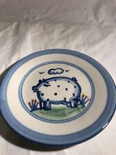 M A HADLEY COUNTRY SCENE BLUE PIG 7 5/8 INCH SALAD DESSERT PLATE