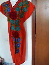 Orange Ethnic Embroidery Mexican Boho Maxi Tunic Retro Dress Loose Casual