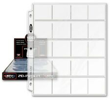 100 BCW 20 Pocket Album Pages Sheet For 2X2 Coin Flips Holder Pogs Slide Storage