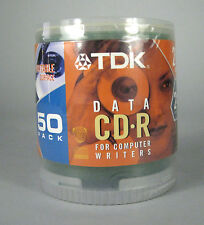 NEW TDK 50 Pack 21 min Data CD-R 185 mb 24x Compatible Cakebox Writable SMALL