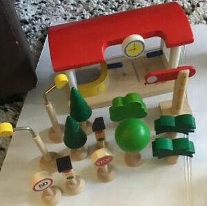 Lot PlanToys Plan Toys Plan City Train Trees Signs Street Lights Toll Train