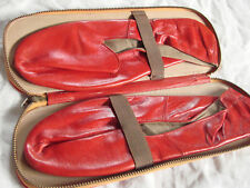 Vintage 40s 50s Red Leather Travel Slippers Zipper Case Gc 8.5