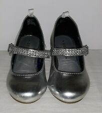George Girls Toddler Dress Shoes Size 7 Silver 1 Inch Heel