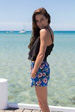 Indikah Womens Ladies Blue Floral Shorts Frilled Pocket Summer Beach