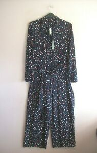 M&S Size 16 Blue Red White Print Long Sleeve Sash Belted Wide Leg Jumpsuit NEW