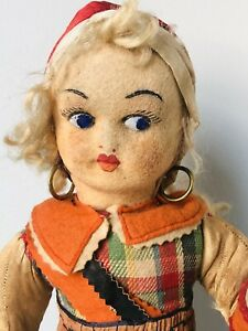"""Unidentified Antique Unmarked 15"""" Lenci Type  Cloth Doll with attached stand"""
