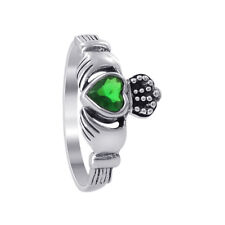 925 Sterling Silver Emerald CZ Cubic Zirconia 2mm Ring Size 5 - 9