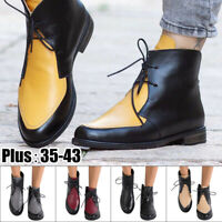 Women Winter Boots Leather Ankle Spring Flat Shoes Oxford Martin Boots Fashion