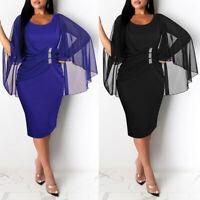 ❤️ Women Mesh Ruffle Bodycon Midi Dress Ladies Evening Party Cocktail Dress Gown