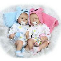 "22"" Handmade Soft Body Lifelike Twins Silicone Reborn Girl Babies Doll XMAS Gift"