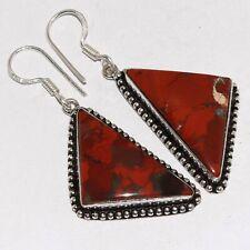 "Silver Plated Earrings 2.1"" Va-19594 Red Brecciated Jasper 925"