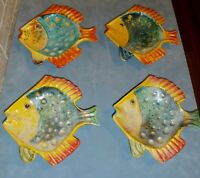 "Set Of 4 Vintage Hanging Hand Painted Majolica Fish Plates From Italy  9"" x9"""