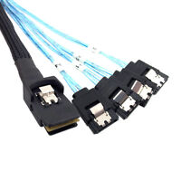 Mini SAS 36pin SFF-8087 host to 4 SATA 7 Pin target Hard Disk Data Cable 1m