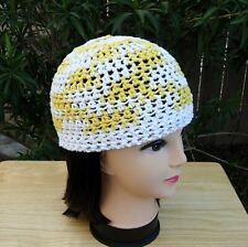 91c11060361 Yellow and White 100% Cotton Crochet Knit Hat Summer Beanie Womens Lacy  Skullcap