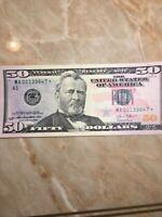 *.2013 $50  US FRN Star Note # MA00139647* Boston Note 640,000 Run