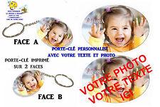 porte clé ovale polymère personnalisé avec votre photo - prénom et texte réf 00