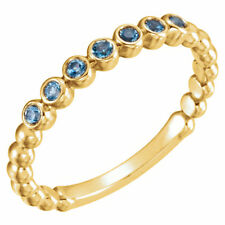 Genuine Aquamarines Gemstones Beaded Stackable Band Ring 14K. Yellow Solid Gold