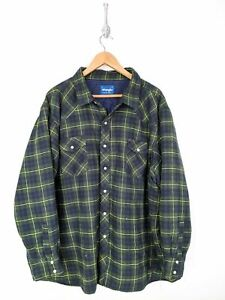 Wrangler Quilted Pearl Snap Coat Men 3XL XXXL Big 3XB Green Blue Lined Western