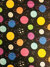 Planets Space 100% Cotton Fabric Material BY HALF METRE