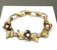 Vintage Coro Copper Flower Bracelet Painted Leaves Rhinestones. Signed