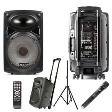 Fenton FPS12 Battery or Mains Portable PA Speaker System VHF Mic USB SSC2922