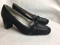 Liz Claiborne Women's Size 7.5 M Black Loafers Heels Shoes