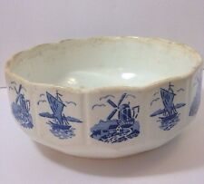 Antique Early Delft Rosenthal Old Bowl Signed GERMANY 29 Windmill Sailboat