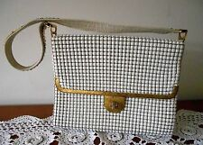 VINTAGE 1960S OROTON MESH AND LEATHER LADIES HANDBAG WHITE