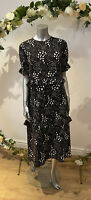 Influence Dress Size UK 12 Black Midi tea Dress Mixed Spot Polka Print New GK78