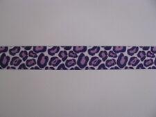 """leopard print purple grosgrain ribbon 7/8"""" per 1 mtr hair craft"""
