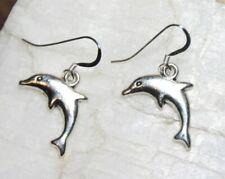 Dolphin Earrings Ocean Sea 925 Sterling Silver earrings Pewter charms