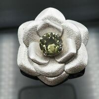 Vintage Textured Silver Tone Faux Peridot Rhinestone Flower Brooch / Pendant