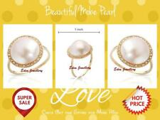 US$800 Beautiful Dainty Ring GENUINE Diamond & MOBE Pearl Yellow Gold 80% OFF