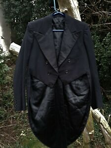 VINTAGE BLACK WOOL TAIL COAT CHEST SIZE 38
