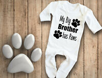 My big brother has Paws white baby grow bodysuit rompersuit sleepsuit