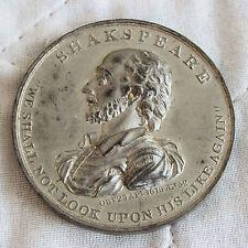 1816 Commemorazione di Shakespeare a Stratford speranza Avon Medaglia Metallo Bianco 45mm