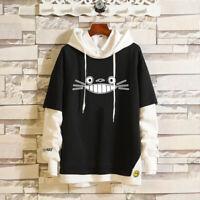 My Neighbor Totoro Layered Hoodie Ribbed Cuff Pullover Sweatshirt Patchwork Tops