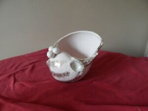 Vintage Cagoo Pale Pink and Gold Trim Shell Planter with Pearls