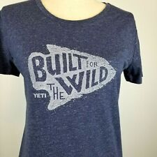 YETI Built For The Wild T-Shirt Womens Size M Heather Navy Arrowhead