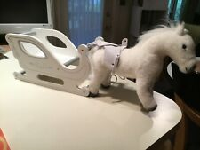 """Pottery Barn Kids By Gotz White Horse Pony Plush 15"""" & Carriage Sleigh for Doll"""
