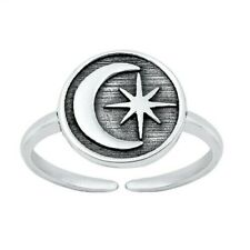 Sterling Silver 925 Face Height 9 mm Crescent Moon & Star Toe Ring Genuine