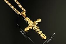 New Solid Metal 18K Gold Plate Long Chain Jesus Crucifix Pendant HipHop Necklace