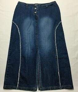 "Erica Brooke Denim Skirt XL (34""w) Long Jean Western Factory Fade & Frayed Trim"