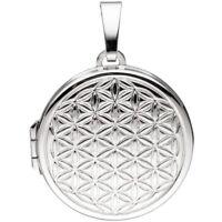 Medaillon für 2 Fotos, Amulett Lebensblume Anhänger zum Öffnen rund, 925 Silber
