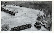 Postcard Johnstown PA 1936 Flood River Train Trestle Houses Submerged Unposted