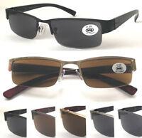 SL402 Metal Semi Rimless Reading Sunglasses & 100%UV/Spring Hinges Plastic Arms