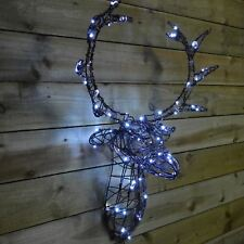 Kingfisher 80cm Bright White LED Light Up Wall Mounted Reindeer Stag Head