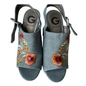 G by Guess wood wedge heel denim shoes, 6,5M